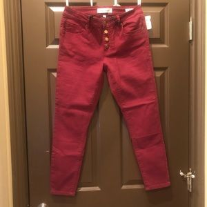 Ashley Mason front button jeans | burgundy